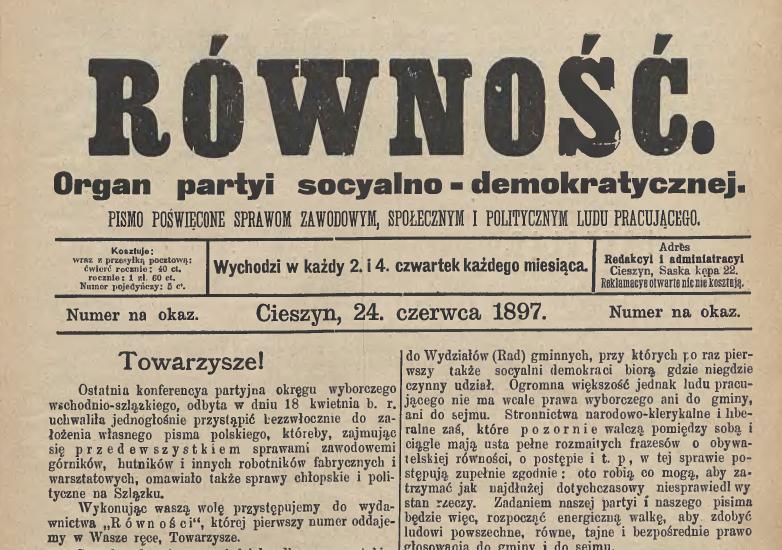 Czasopismo Równość z 1897 roku